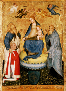 Madonna and Child With Saints and Donor by School of Pavia